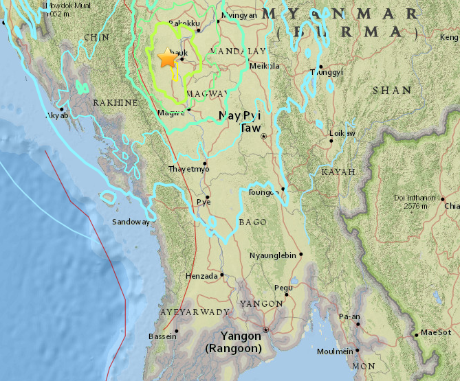 A 6.8 magnitude earthquake hit Myanmar on August 24. Image showing the epicenter and extent of the earthquake is from the website of the U.S. Geological Survey
