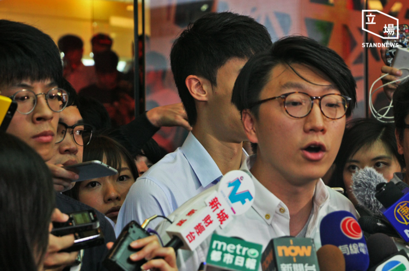 Edward Leung talked to the press after his candidacy was invalidated by the returning officer. Photo from the Stand News. Non-commercial use.
