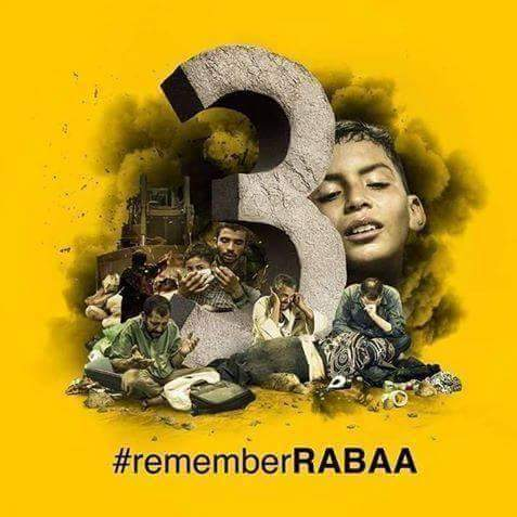 A picture commemorating the third memory of Raba'a massacre gone viral on social media. Photo share on Facebook by: Peter Youssef. Link: https://goo.gl/Qse1xM