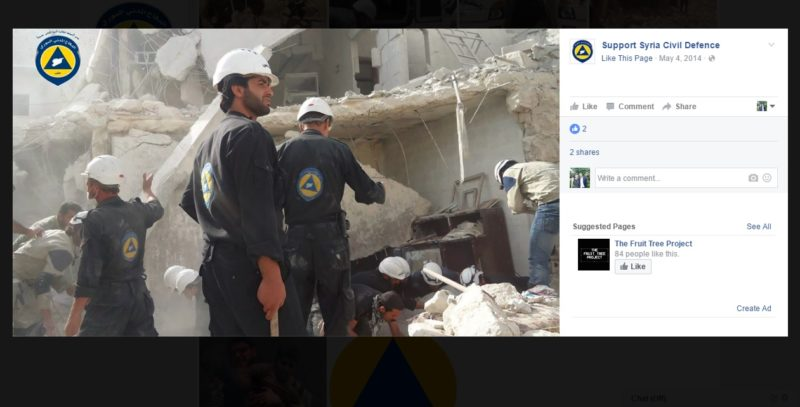 A photo posted to the Support Syria Civil Defence Facebook page.