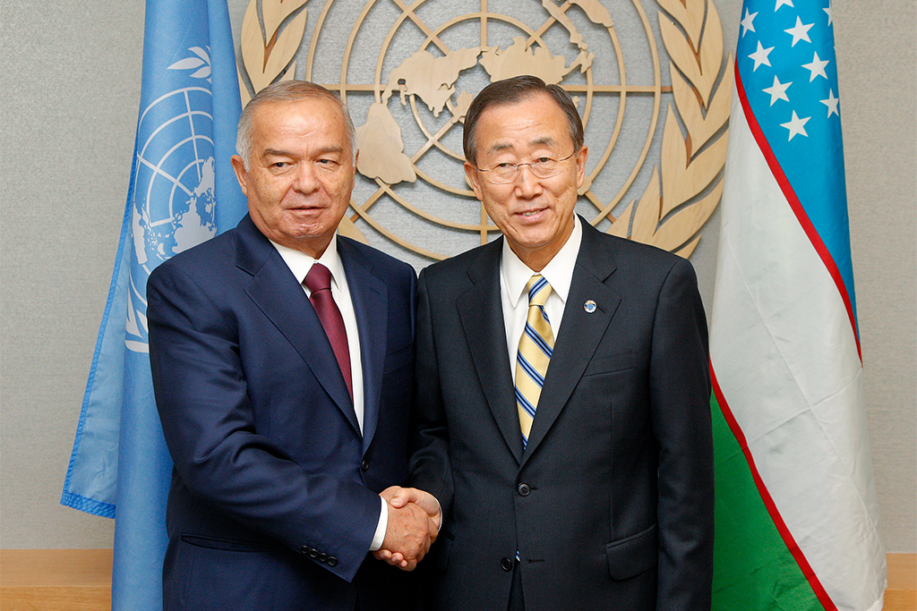 Secretary-General Ban Ki-moon has met several times with Islam Karimov, President of the Republic of Uzbekistan. Here they are pictured in September of 2010. UN Photo/Evan Schneider