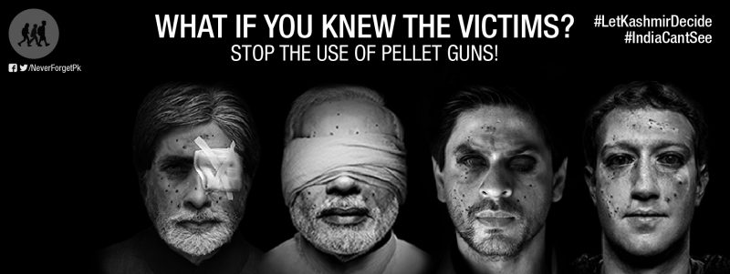 Photo from Never Forget Pakistan Facebook page showing photoshopped pellet gun wounds on the faces of Indian Prime Minister Narendra Modi, Bollywood actors and Facebook CEO Mark Zuckerberg