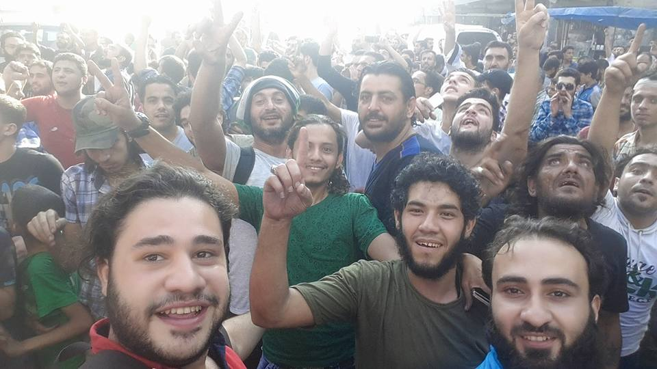 One of the last photos of Shamel showing him celebrating the breaking of the siege of Aleppo with friends. Dated August 6, 2016. Source: Facebook.