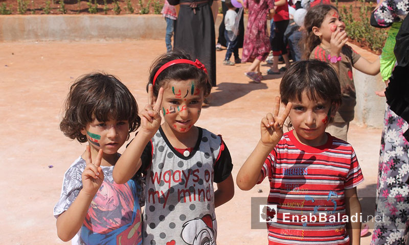 Children of Daraya in the refugee camps of Idlib - Monday 29 August (Source: Enab Biladi)