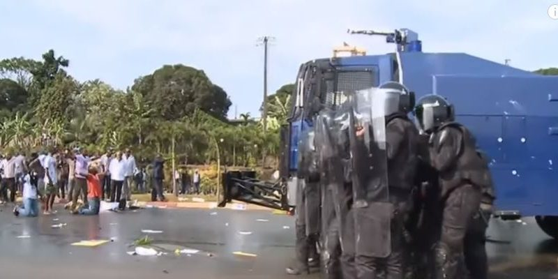 Screen capture of video of conflict between police and protesters after the elections via France 24