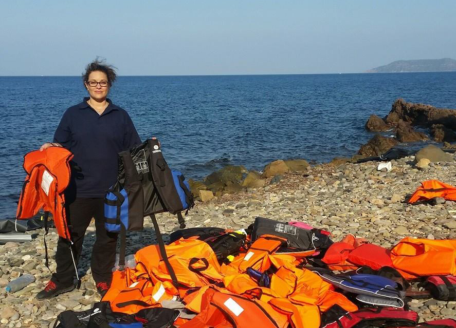 Helen Zahos with lifejackets on Lesbos