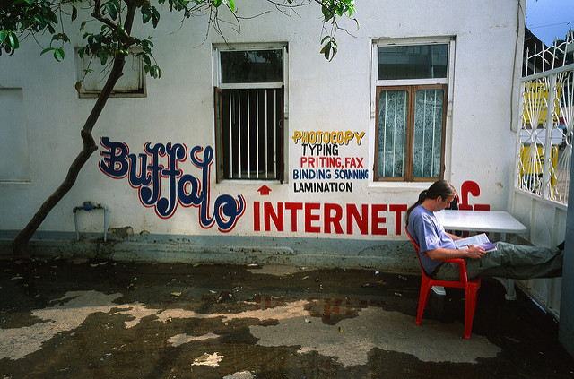 A sign for an Internet cafe in Tanzania. Tanzania is one of the top 10 countries with most Internet users in Africa. Creative Commons photo by Flickr user Aslak Raanes.