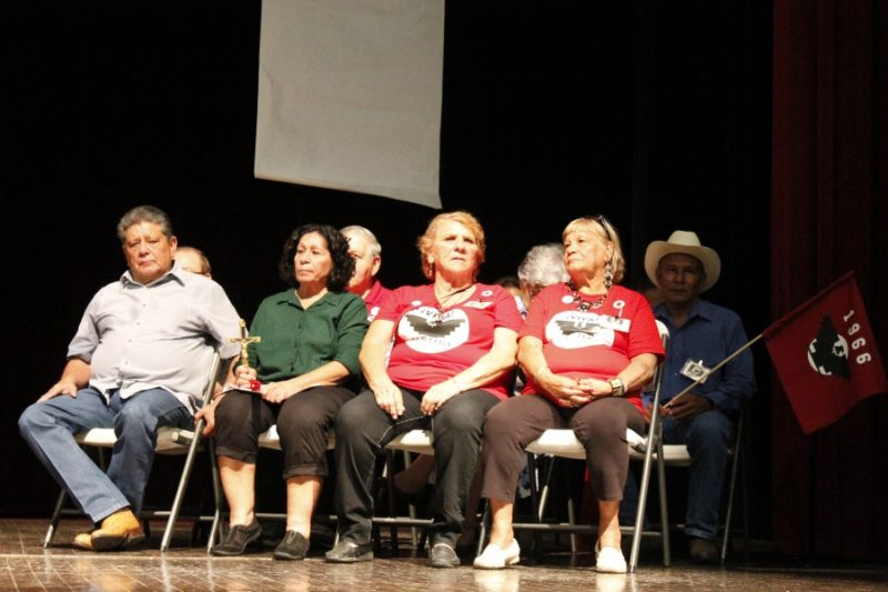 Some of the original strikers and marchers from the Rio Grande Valley gather on stage before addressing the audience about some of their experiences during 1966. Credit: Reynaldo Leanos Jr./PRI