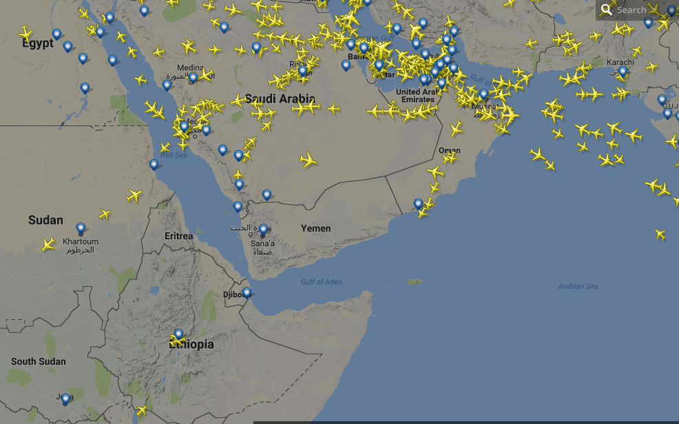 Screenshot from FlightRadar24 showing Yemen. Source.