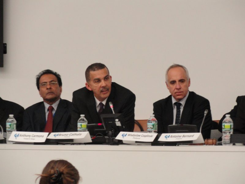 Prior to his presidency, Anthony Thomas Aquinas Carmona (centre), candidate from Trinidad and Tobago, speaks at the ICC Judicial Candidates Forum in New York on October 25, 2011. Photo by Coalition for the ICC, used under a CC BY-NC-ND 2.0 license.