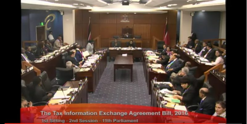 A screen shot of a Parliament Channel YouTube video, showing the parliamentary debate of Friday September 23, 2016 in Trinidad and Tobago.