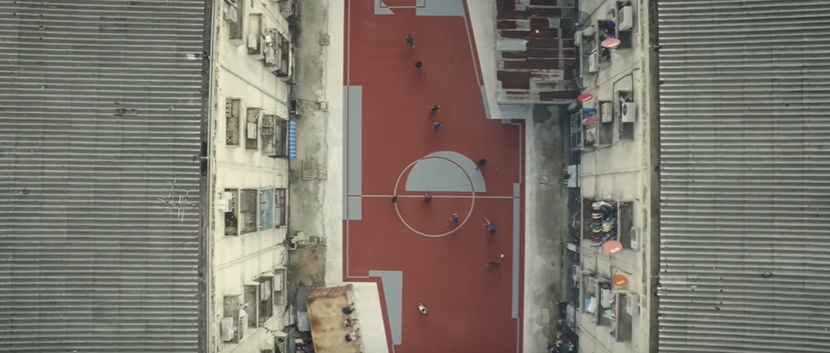 A non-rectangular football field in Khlong Toei, Bangkok. Source: YouTube