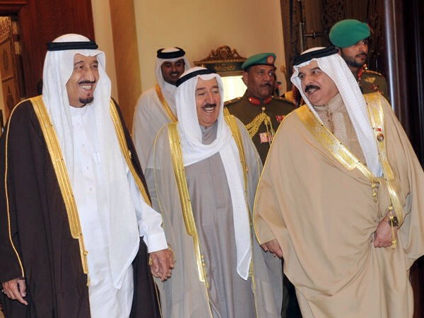 "Emir of Kuwait Sabah Al-Ahmad Al-Jaber Al-Sabah (center) with the Saudi King Salman bin Abdulaziz Al Saud (left) and the King of Bahrain Hamad bin Isa Al Khalifa. Photo by ""Tribes of the World"" via Flickr. (CC BY-SA 2.0)"