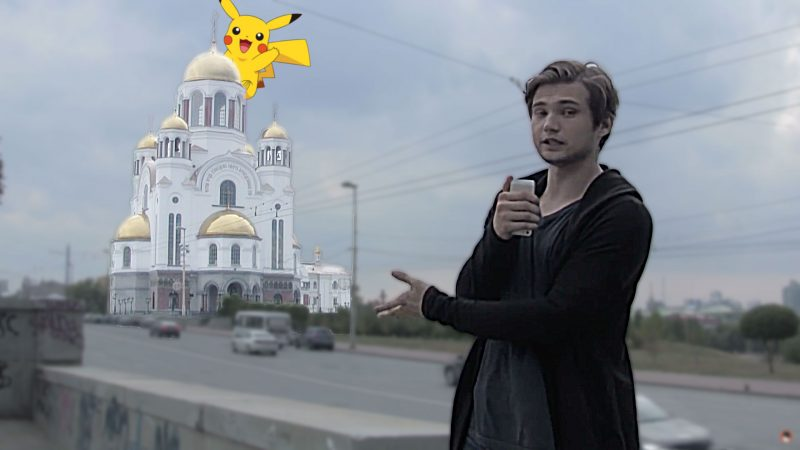 Ruslan Sokolovsky outside the Church of All Saints in Yekaterinburg. Image: YouTube. Edited by Kevin Rothrock.