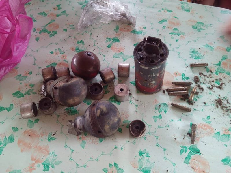 Empty tear gas canisters and blank bullets used during the demolition. Photo credits: Pamalakaya-Pilipinas.