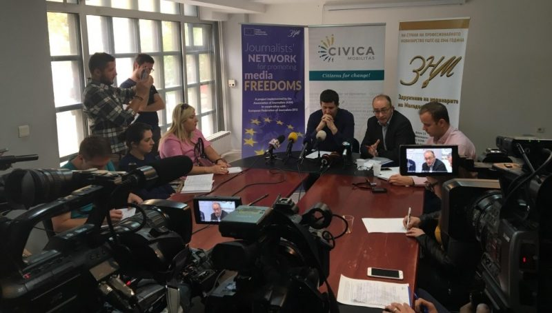 Press conference by Association of Journalists of Macedonia and International Federation of Journalists informing about Božinovski's hunger strike. Photo by AJM, used with permission.