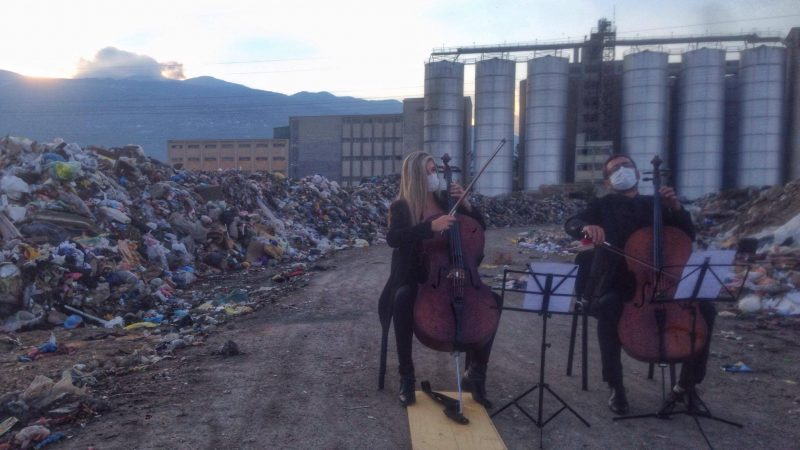 Classical music concert at the illegal dump in Tetovo, Macedonia. Photo byNgadhnjim Mehmeti, EcoGuerilla.mk , used with permission.