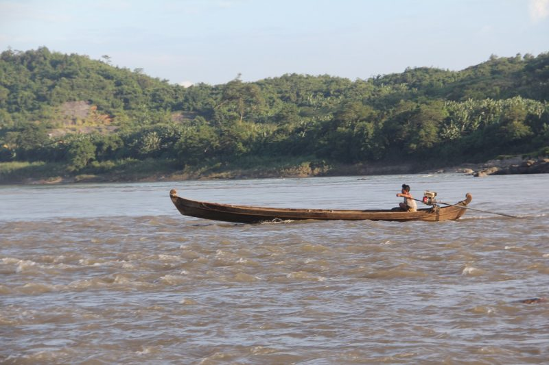 A boat in Myitsone.(Photos: Nan Lwin Hnin Pwint / The Irrawaddy)