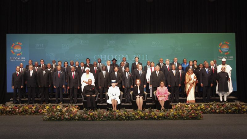 The Commonwealth Heads of Government Meeting 2011- leaders family photo: Queen and leaders. Image from Flickr by The Commonwealth, CC BY-NC-ND 2.0