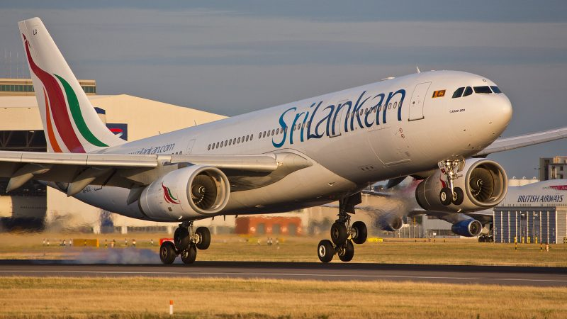 SriLankan Airlines - Airbus A330-243, 4R-ALG touches the runway at London Heathrow. Image from Flickr by Michael Garnett. CC BY-NC 2.0