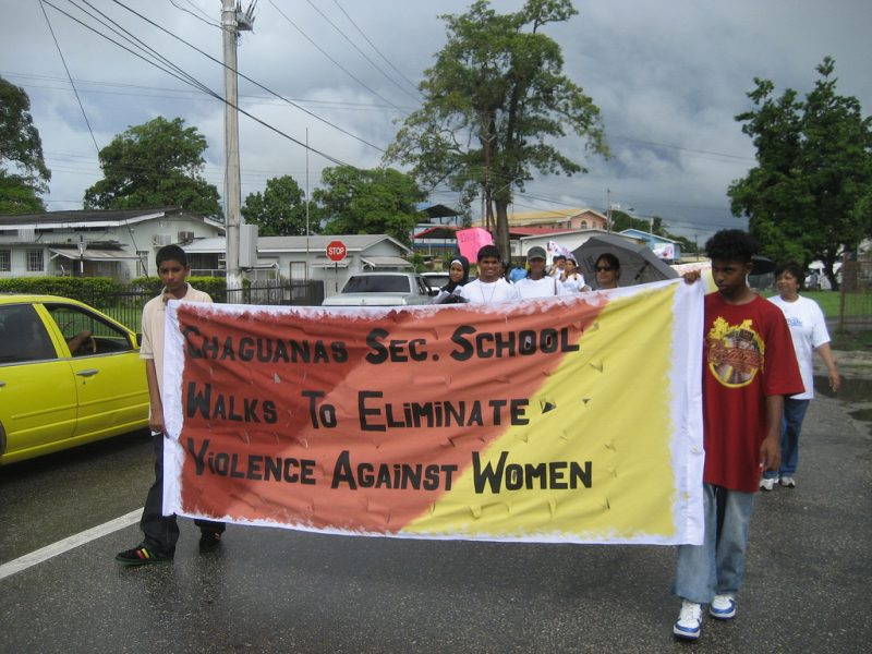 Young men from the Chaguanas Secondary School in Trinidad & Tobago take part in a 2008 Walk against Domestic Violence to commemorate the International Day for the Elimination of Violence Against Women. Photo by CWGL, (CC BY-NC-ND 2.0).