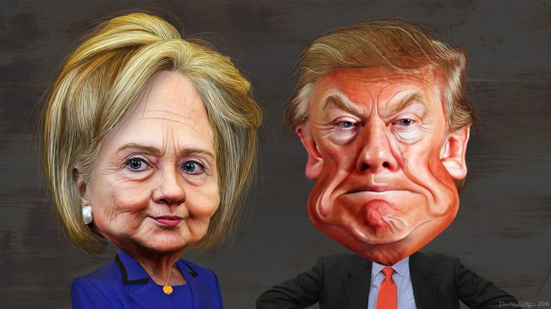 Hillary Clinton and Donal Trump. The caricature of Hillary Clinton was adapted from a photo in the public domain from the East Asia and Pacific Media's Flickr photostream. The body was adapted from a photo in the public domain from the U.S. Department of State's Flickr photostream. This caricature of Donald Trump was adapted from Creative Commons licensed images from Max Goldberg's flickr photostream. IMAGE: DonkeyHotey (CC BY-SA 2.0)