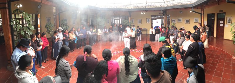 Panoramic view of Kichwa ceremony prior to the start of the workshop. Photo by E. Avila.