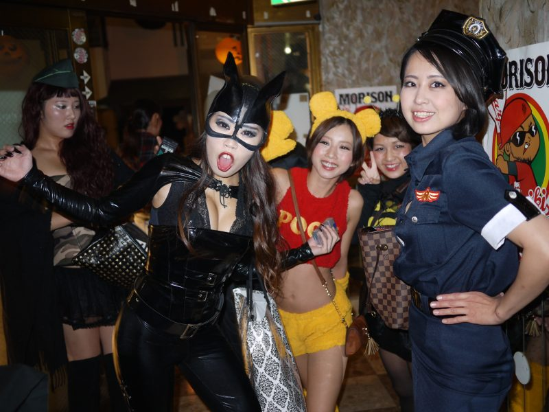 Japanese people don costumes for Halloween.