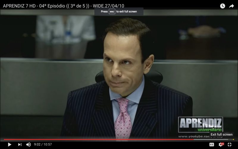 João Dória, São Paulo's newly elected mayor, while presenting the country's version of The Apprentice in 2010. Photo: Youtube screenshot