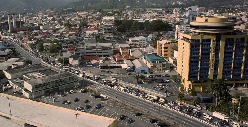 A traffic jam in Port of Spain, Trinidad in 2012.