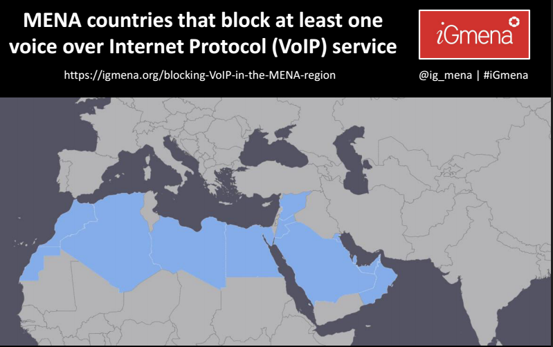 Bans on VoIP services across the Middle East and North Africa region. Map by igmena.org