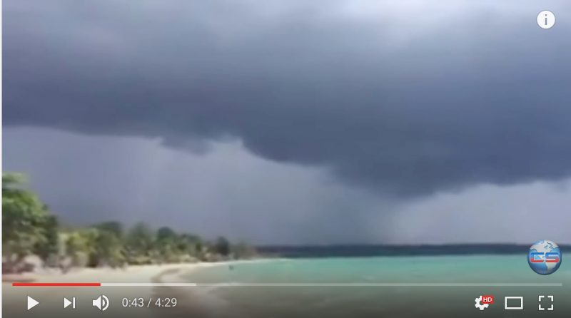 Screenshot from a Climate State YouTube video showing Hurricane Matthew approaching Jamaica.