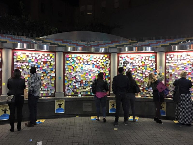 Image of the Wall of Empathy at the 16th street BART station in San Francisco. Photo from the Wall of Empathy Facebook event page.