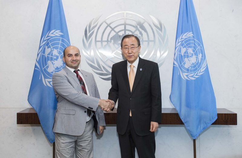 UN Secretary General Ban Ki-moon's Interview with Dag Hammarskjöld Journalism Fellow and Global Voices author Abdulfattoh Shafiev.