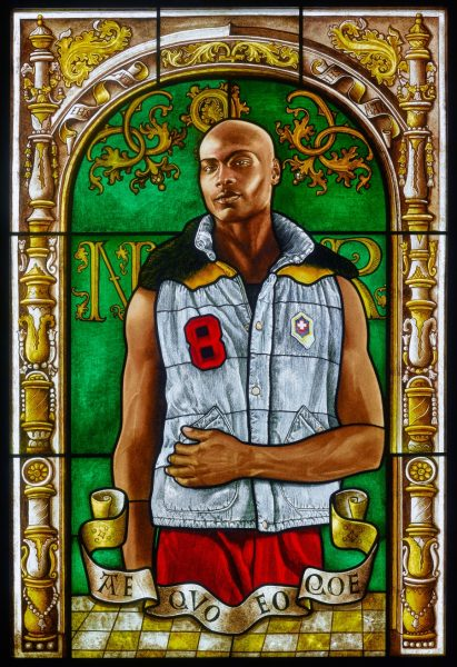 "This pictures the ""Arms of Nicolaas Ruterius, Bishop of Arras,"" a stained-glass portrait by Kehinde Wiley from 2014. Credit: Courtesy of Kehinde Wiley"