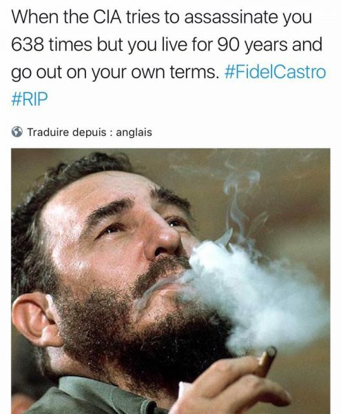 Castro meme that uses a photo by Corbis; widely shared on Facebook.