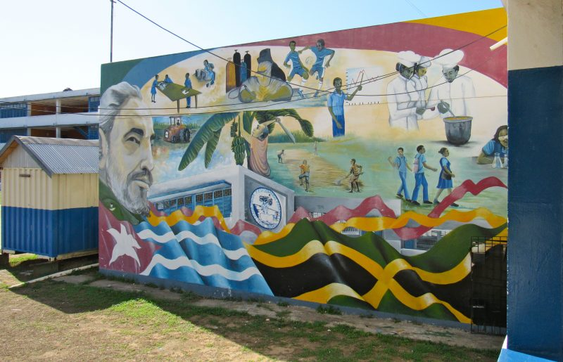 A mural of Fidel Castro at Jose Marti Technical High School in Twickenham Park, St. Catherine, Jamaica. The school was built by the Cubans in 1977. Photo by Emma Lewis, used with permission.