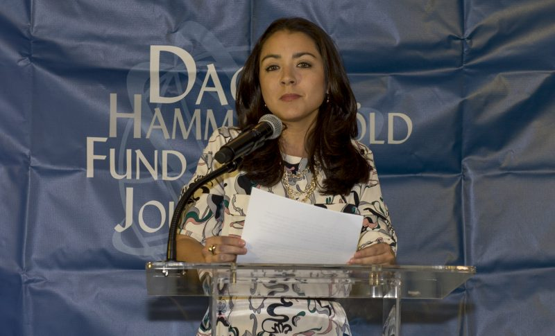 Maria Julia Arana speaking at the United Nations in New York. Photo by the UN.