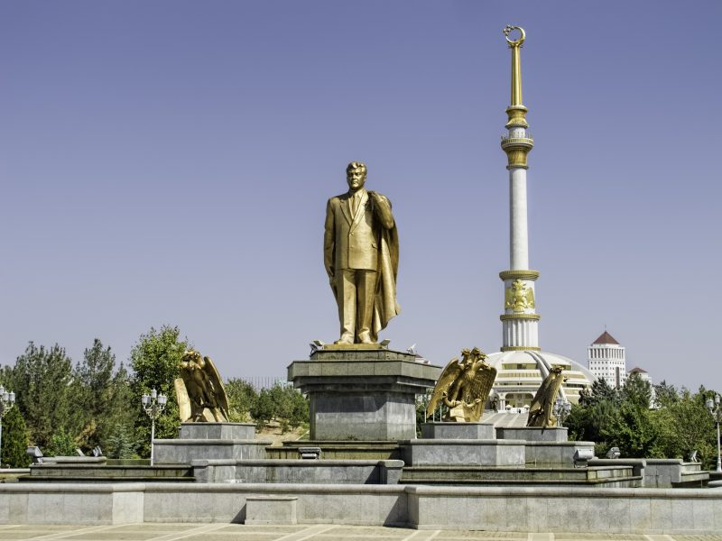 Golden statue in the capital Ashgabat of Turkmenistan's first President Saparmurat Niyazov, who ruled from the late Soviet period until his death in December 2006. Creative commons.