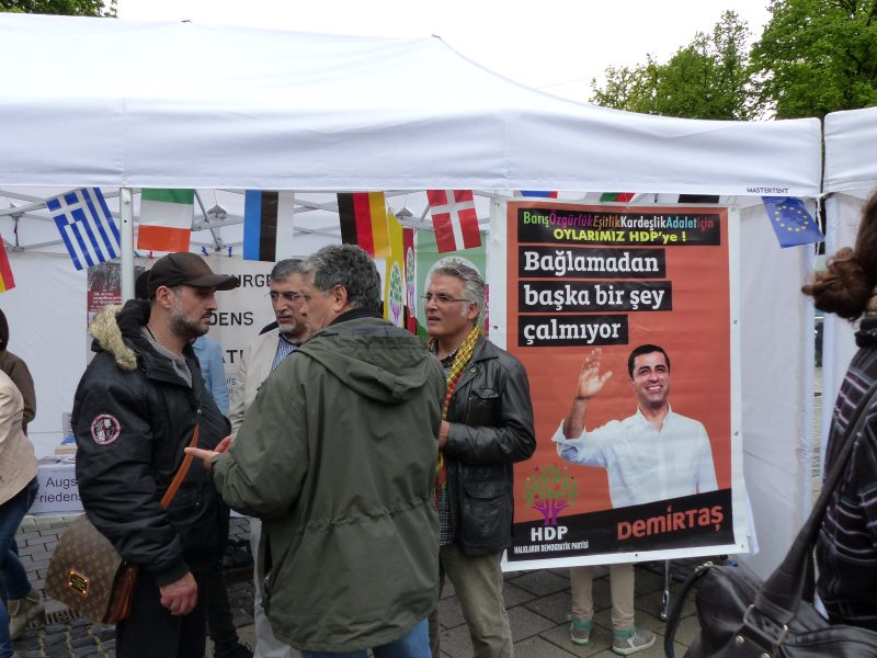 Dermitas shown on a poster at a pro-HDP gathering in Germany. Creative commons.