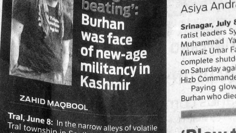 Picture of a local daily after the young rebel commander was killed in a gunbattle in South Kashmir. Photo: Dad.