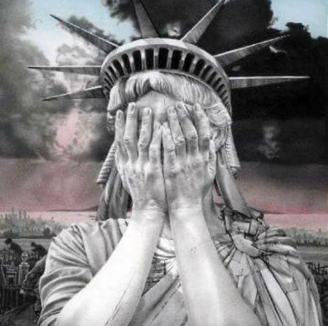 Meme of Lady Liberty's reaction to the outcome of the US presidential election; widely shared on Facebook.