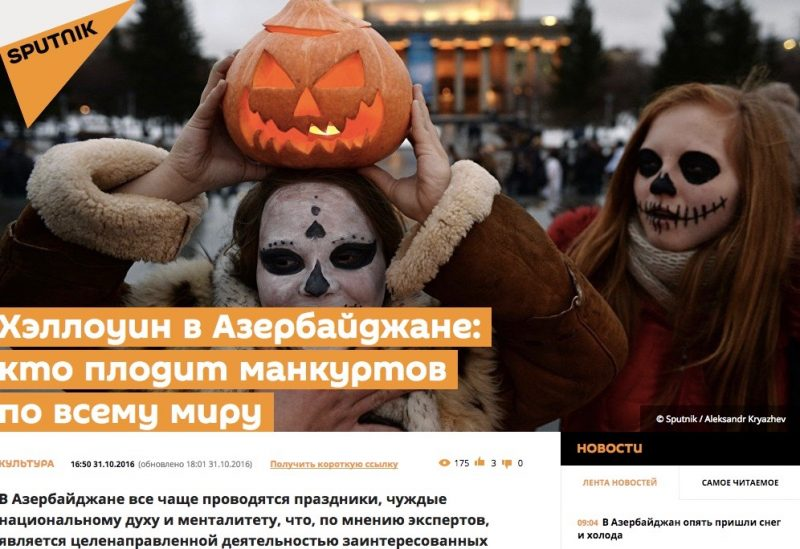 "Screenshot from the website of Moscow-controlled Sputnik.az. The introduction notes that ""according to experts"" the Halloween fad is being driven by ""vested interests"""