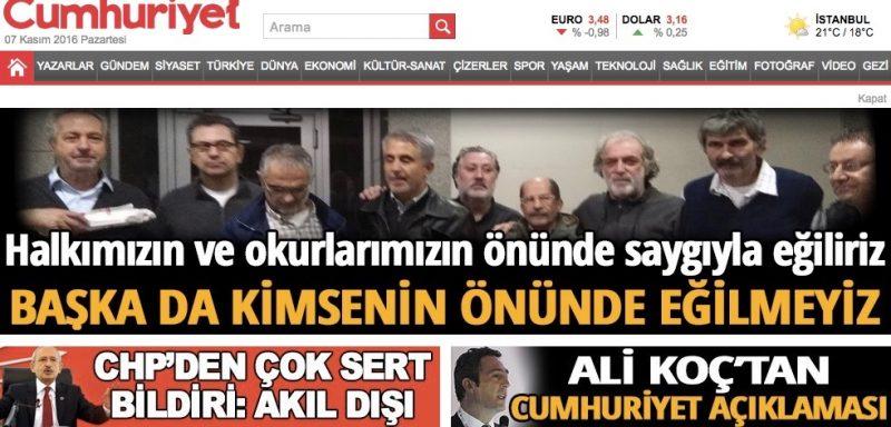 Página principal de Cumhuriyet el 7 de noviembre
