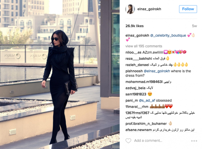 Iranian model Elnaz Golrokh (now based in Dubai) maintains a popular fashion and modelling Instagram page with over 800K followers.