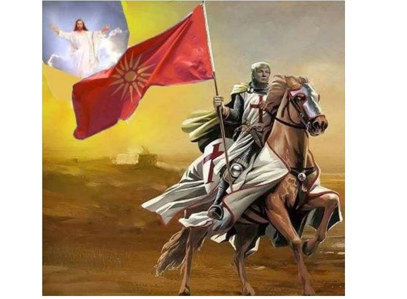 Widely shared photo-montage by unknown author presenting Donald Trump as a Crusader carrying the old Macedonian flag.