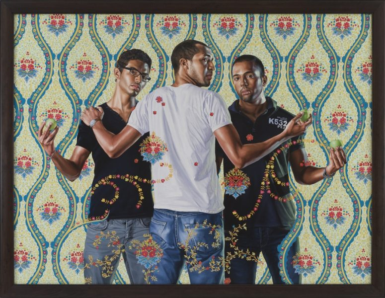 """The Three Graces"" is an oil on canvas work by Kehinde Wiley in 2012. Credit: Courtesy of Kehinde Wiley"
