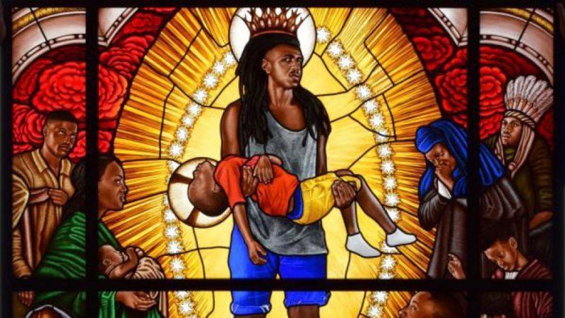 "This image shows some detail from ""Mary Comforter of the Afflicted,"" a stained-glass portrait by Kehinde Wiley. Credit: Courtesy of Kehinde Wiley"