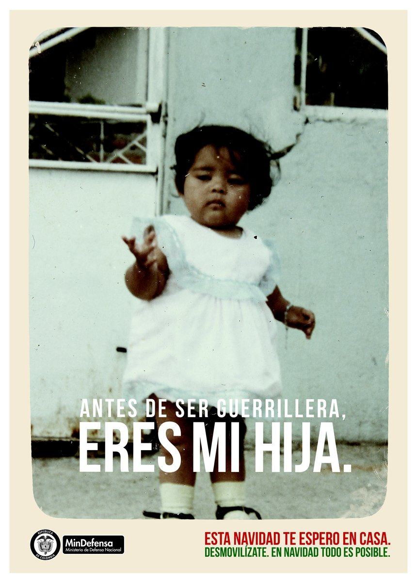 Campaign poster from Colombia's Ministry of National Defense.