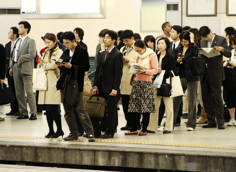 Commuters waiting for the train.